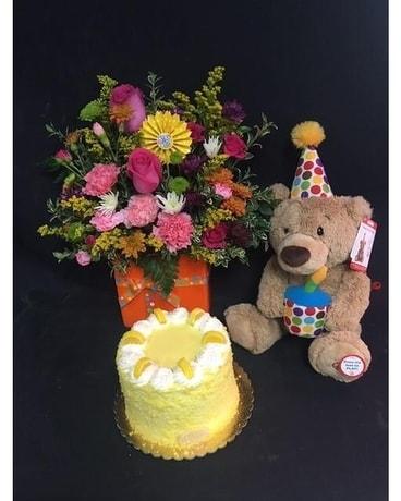 Birthday Bear With Cake