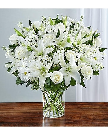 Funeral flowers floral arrangements delivery alameda ca central sincerest sorrow all white mightylinksfo