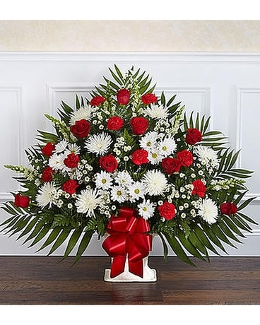 Heartfelt tribute floor basket red white in alameda ca central heartfelt tribute floor basket red white flower arrangement mightylinksfo
