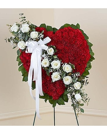 Red solid standing heart with white roses in alameda ca central red solid standing heart with white roses flower arrangement mightylinksfo