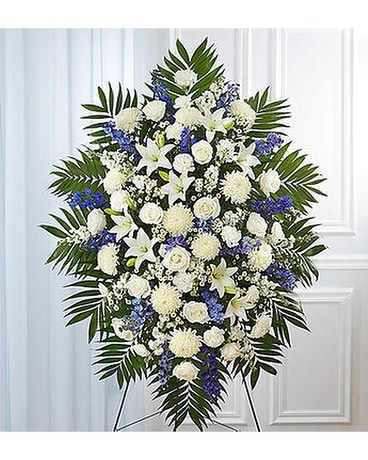 Funeral flowers floral arrangements delivery alameda ca central blue white sympathy standing spray solutioingenieria Gallery