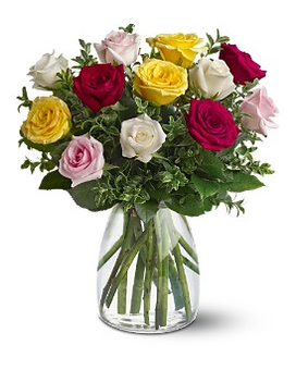 A Dozen Mixed Roses - by Azar Florist Flower Arrangement