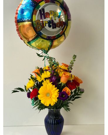 Birthday Cheer Vase Arrangement Flower Arrangement