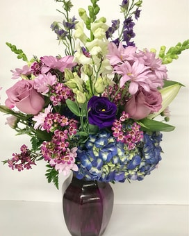 Perfect in Purple Vase Arrangement Flower Arrangement