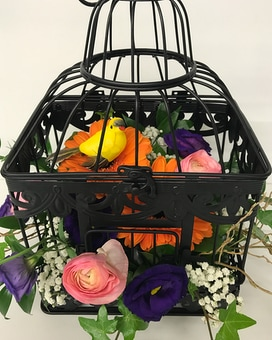 Pretty Bird Cage Floral Arrangement Flower Arrangement