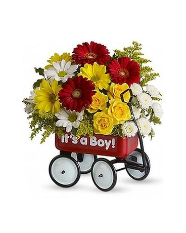 Baby's WOW! Wagon (Boy) Flower Arrangement