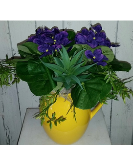 Yellow Picher Violets Flower Arrangement