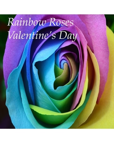Rainbow Roses Valentine's Day Flower Arrangement