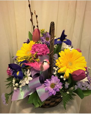 Spring Bloom Basket Flower Arrangement