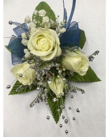 Country Garden Classic Wrist Corsage-Blue Flower Arrangement
