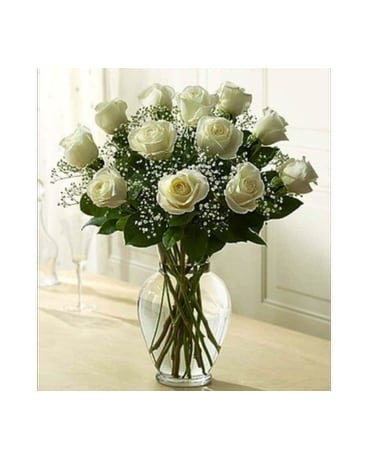 12 White Roses/Babies Breath
