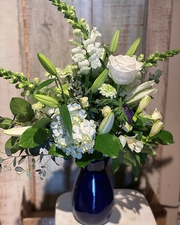 Blushing Blue Flower Arrangement