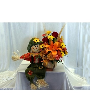 Fall Scarecrow Flower Arrangement