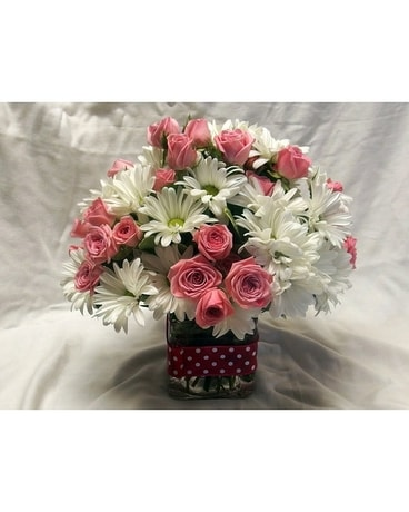 Polka Dots and Daisies Flower Arrangement