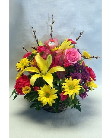 Birdwatcher Basket Flower Arrangement