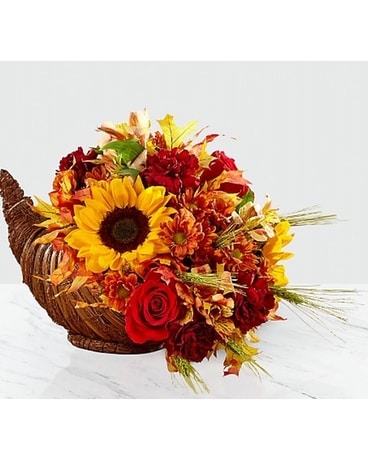 Harvest Cornucopia Flower Arrangement