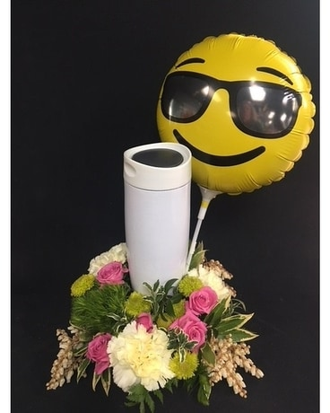 Coffee Cup with Smiley Face Balloon Flower Arrangement