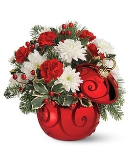 Teleflora's Ruby Swirl Ornament Bouquet Flower Arrangement