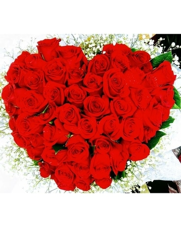Wrapped Heart of Roses Bouquet - Classic Flower Arrangement