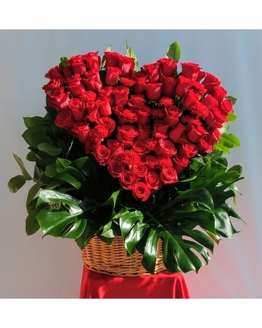 Large Rose Heart Basket Flower Arrangement