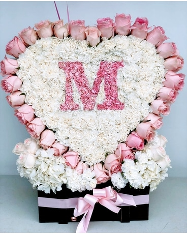 Pale Pink and White Heart Large Flower Arrangement