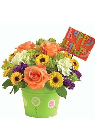 Happy Birthday Bucket Flower Arrangement