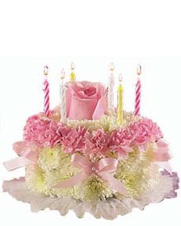 Rose Topped Birthday Flower Cake Arrangement