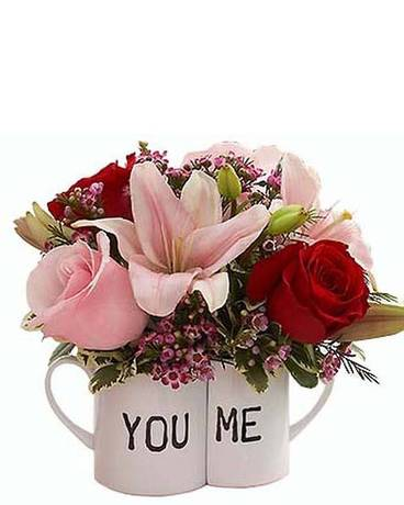 You and Me Suggle Mugs Flower Arrangement