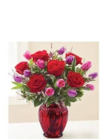 Roses and Tulips for Your Valentine Flower Arrangement