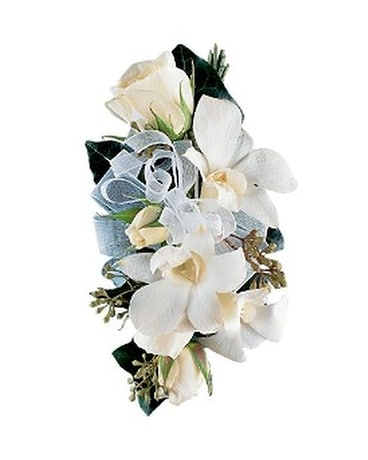 White rose and orchid corsage in pasadena md mahers florist white rose and orchid corsage flower arrangement mightylinksfo