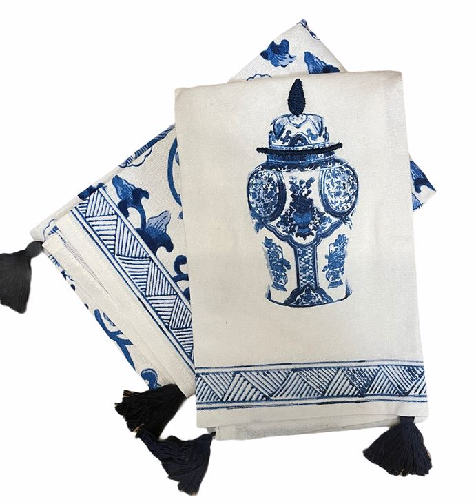 Blue & White Embroidered Dish Towels