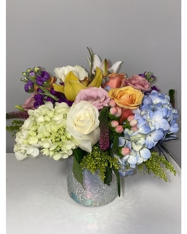 Mosaic Spring Flower Arrangement