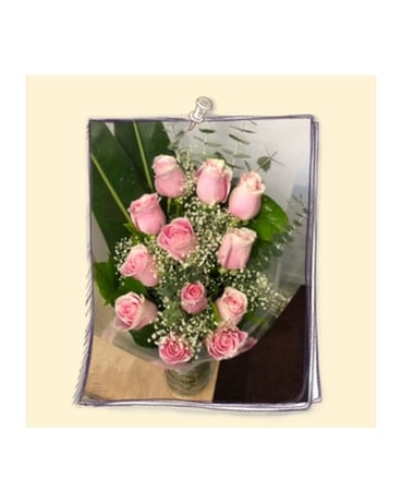 Dozen Hand Tied Roses Bouquet Flower Arrangement