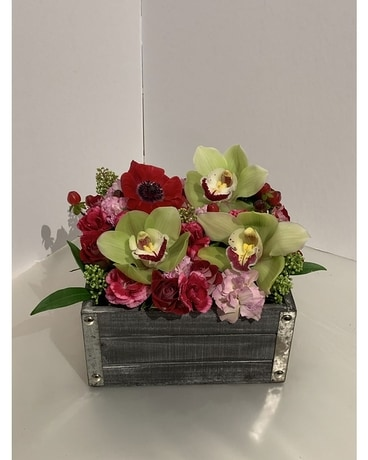 Wooden Box in Red, Pinks & Green Flower Arrangement