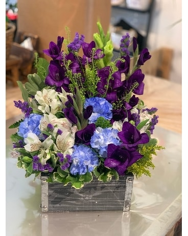 Wooden Flower Box in Whites & Blues & Purples Flower Arrangement