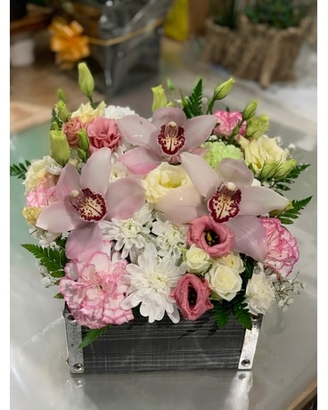 Wooden Flower Box in White, Pink Flower Arrangement