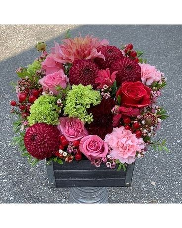 Wooden Flower Box in Reds & Pinks Flower Arrangement