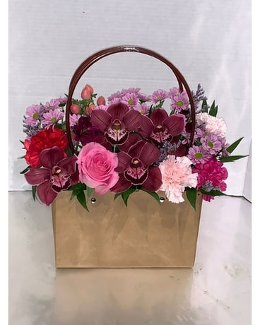Floral Bag in Pinks & Red Flower Arrangement