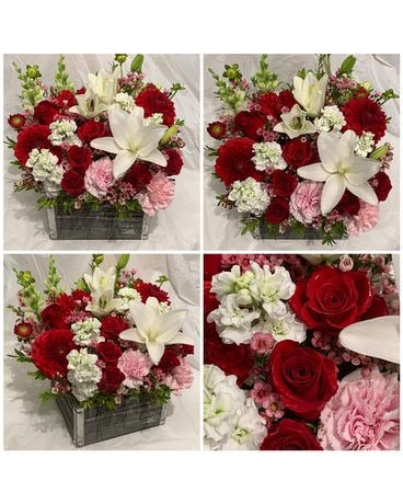Wooden Flower Box in Red, Pink & White