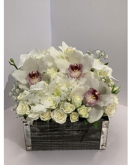 Wooden Box in Whites Flower Arrangement