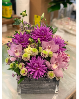 Wooden Flower Box in Purples & Pinks Flower Arrangement