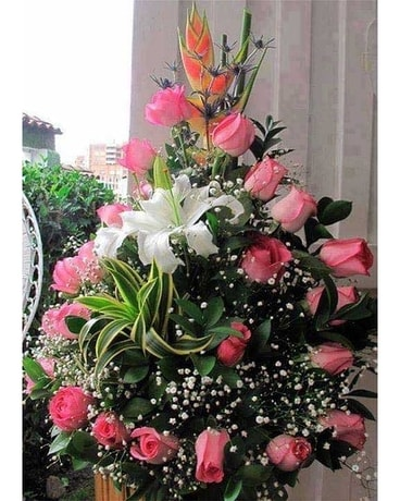 Pink Spiral Flower Arrangement