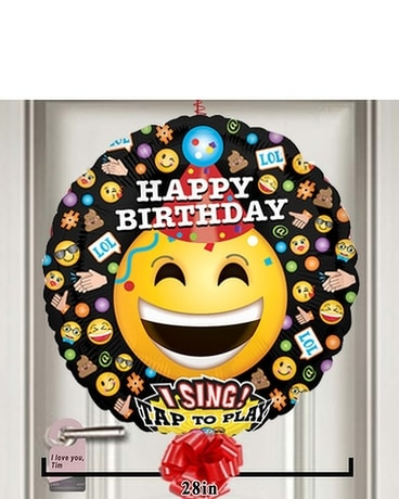 Happy Birthday Emoji Smiles Singing Balloon Flower Arrangement