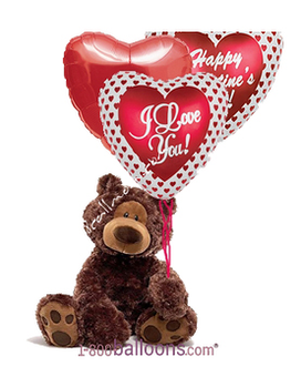 Valentine's Bear With 3 Mylars