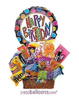 Quick View Junk Food Basket W Birthday Mylar