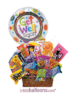 Quick View Junk Food Basket W Get Well Soon Balloon
