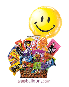 Junk Food Basket w/Smiley Balloon!