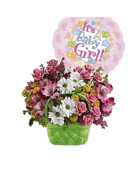 Basket Of Beauty Bouquet with a It's a Girl Mylar Flower Arrangement
