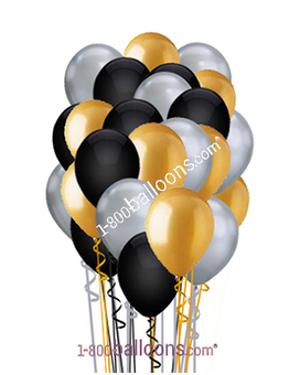 Black, Gold and Silver Latex Balloons Flower Arrangement