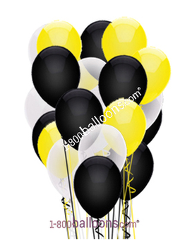 Black, White and Yellow Latex Balloons Flower Arrangement